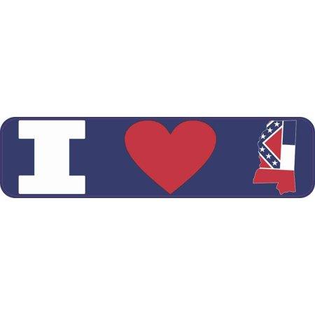 State Flag Bumper Sticker - 8in x 2in I Love Mississippi Bumper Sticker Vinyl Window State Flag Decal