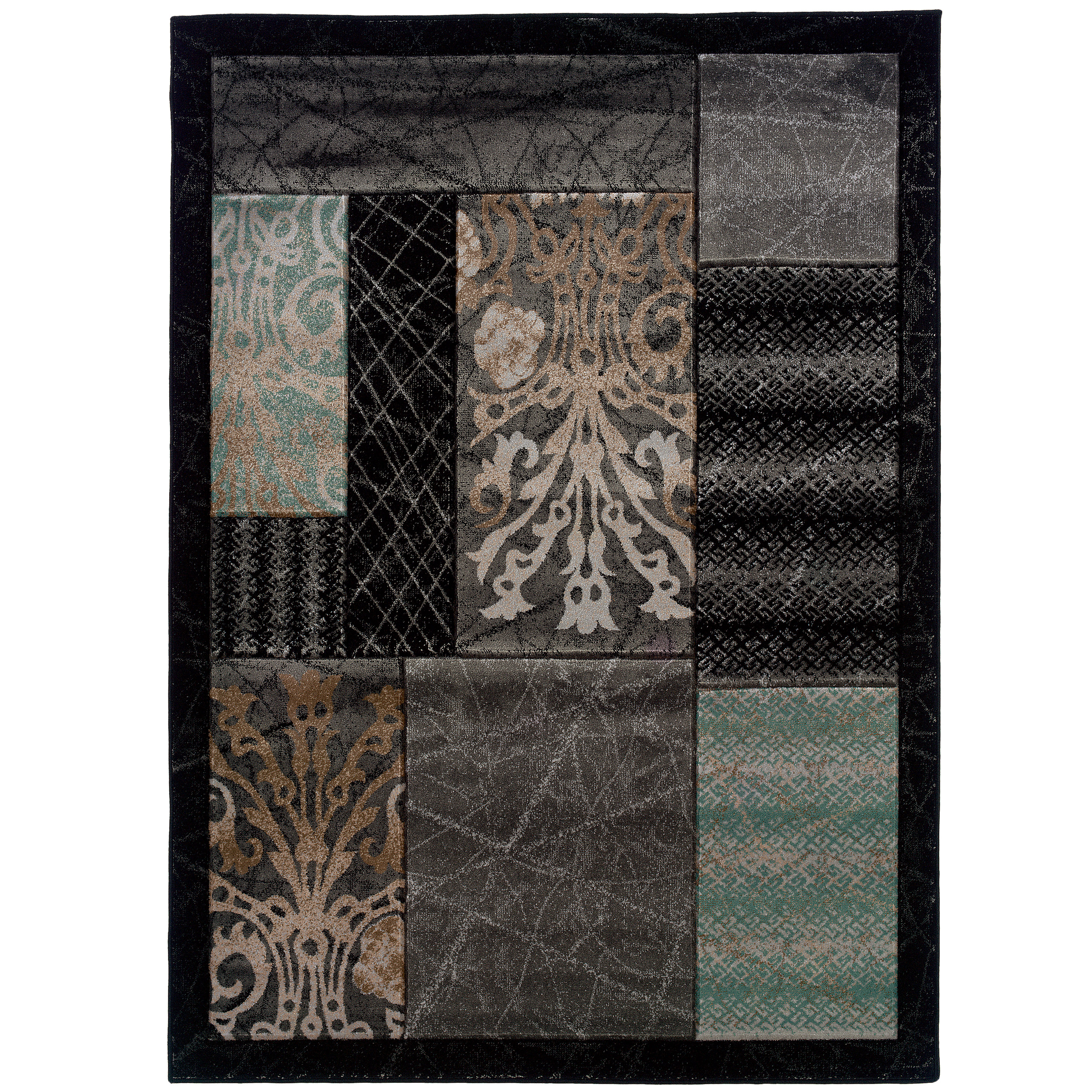 Milan Power Loomed Rug, Brown/Aqua