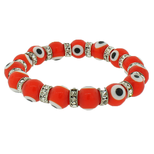Fashion Alloy Orange Red White CZ Beaded Stretch Cord Evil Eye Bracelet