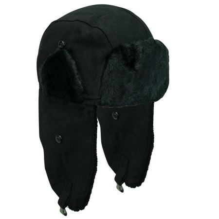 Black Aviator Hat (Black Wool Aviator Cap Hat With Faux Fur)