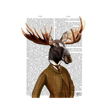 Moose in Suit Portrait Print Wall Art By Fab Funky (Moose Portrait)