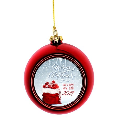 Merry Christmas and a Happy New Year 2019 Ornaments Red Bauble Christmas Ornament Balls (Happy Halloween Merry Christmas)