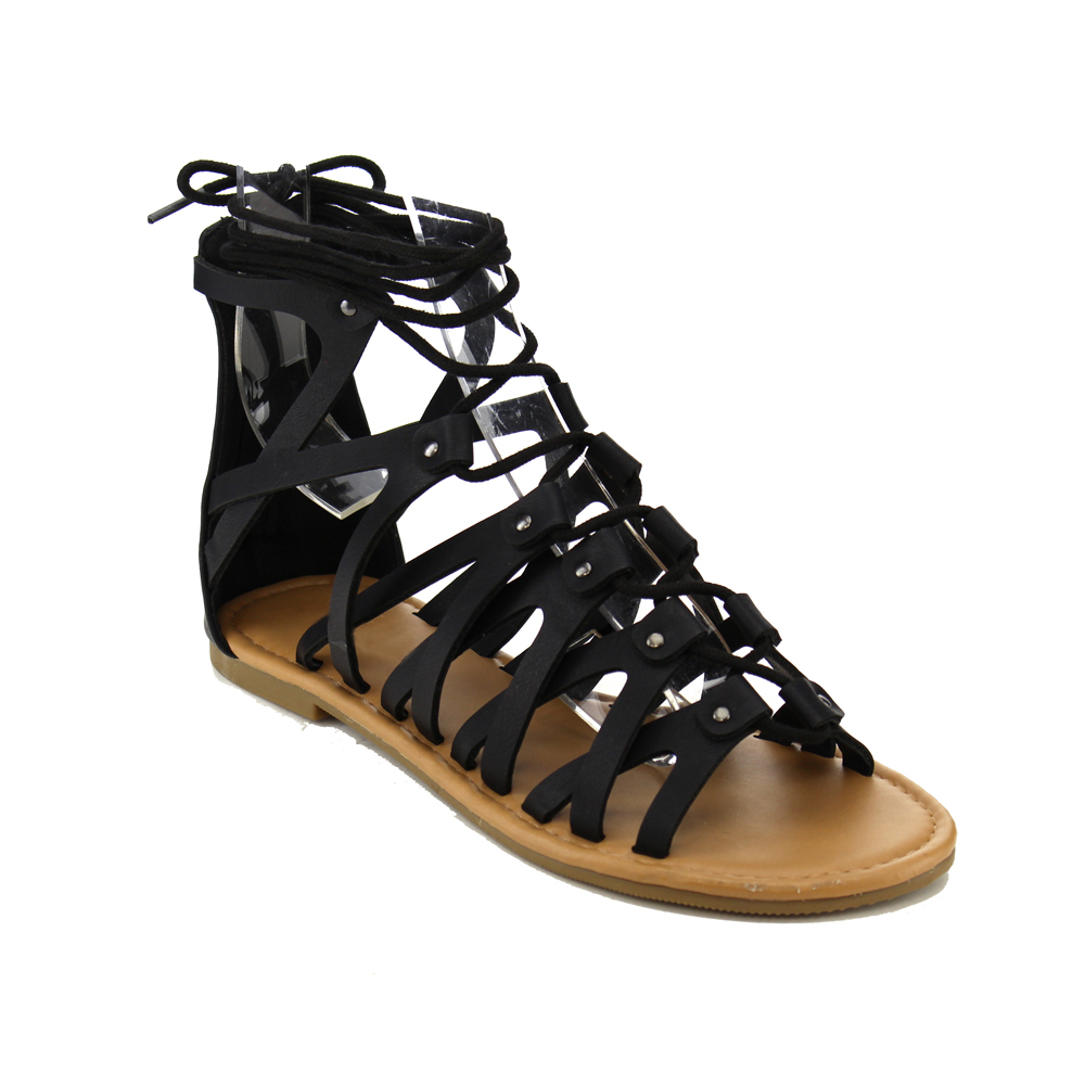 Soda IA20 Women's Strappy Caged Crisds Cross Studded Back Zip Flat Sandals