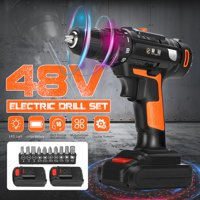 48V 2 Batteries Cordless Electric Screwdriver Drill 2-Speed Function 2600R/min 30Nm 18+1 Torque Setting Wood Wall Drilling Machine with LED lights Drill Screw Set