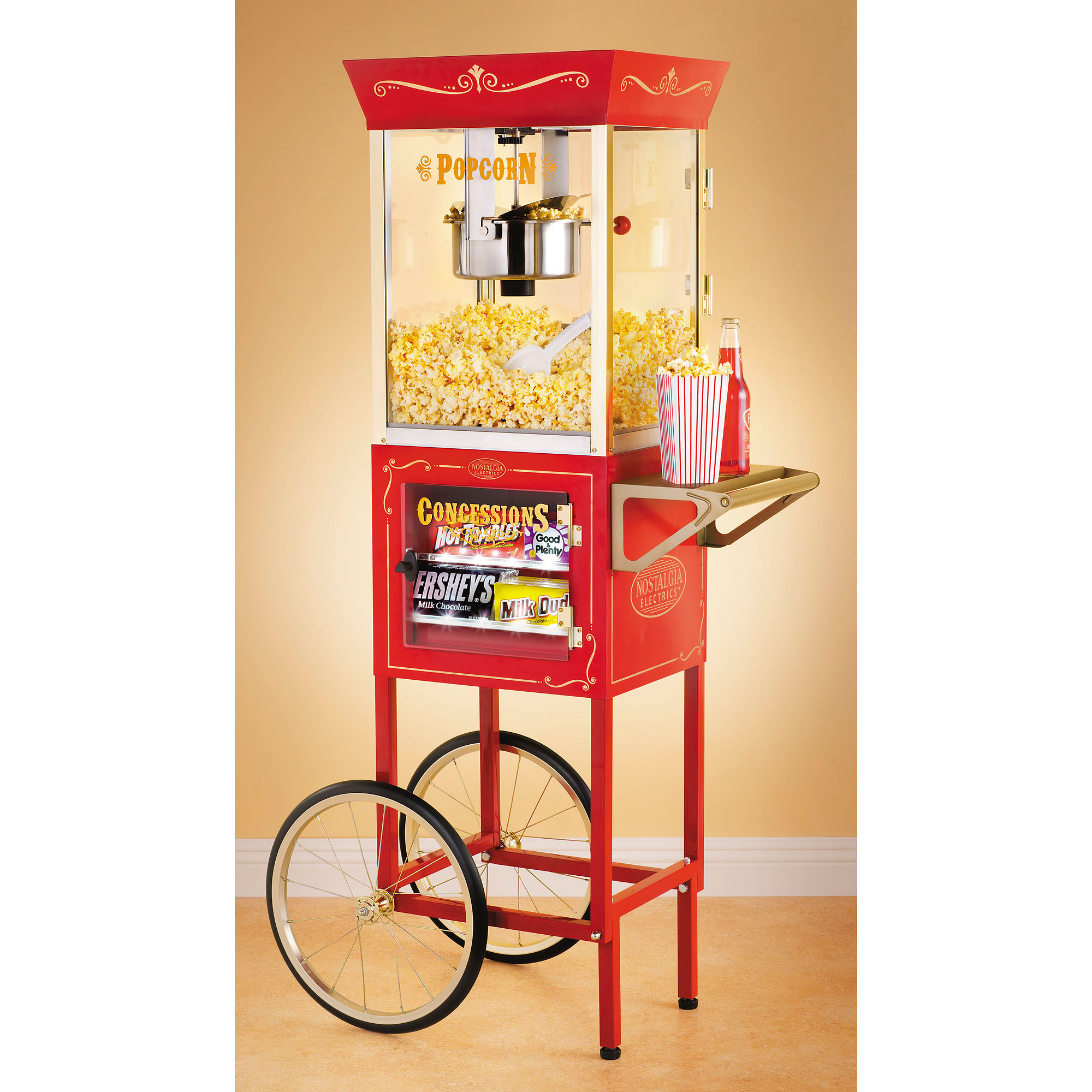 """Nostalgia Electrics 59"""" Tall Vintage Collection 8-Ounce Kettle Commercial Popcorn & Concession Cart, CCP610"""