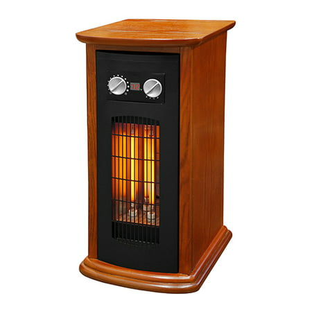 Refurbished LifeSmart Source Green Series Medium Room Infrared Tower Heater, Wood Cabinet with Remote, 1500W