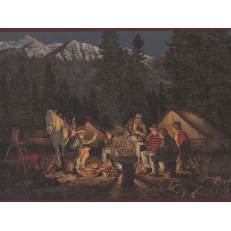 Mountain Night Camp Fire Horse Cowboys Tent Garnet Red Trim Wide Wallpaper Border Retro Design, Roll 15