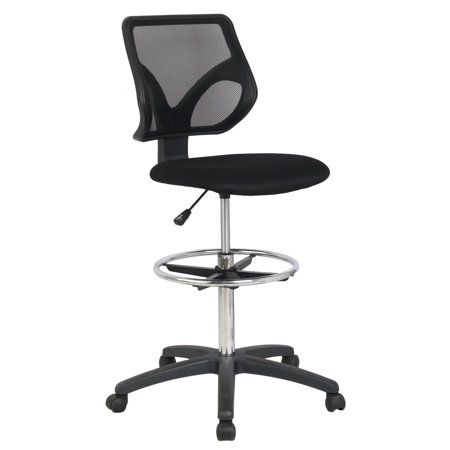 Cool Living Mesh Armless Fixed Upright Adjustable Height Drafting Chair,