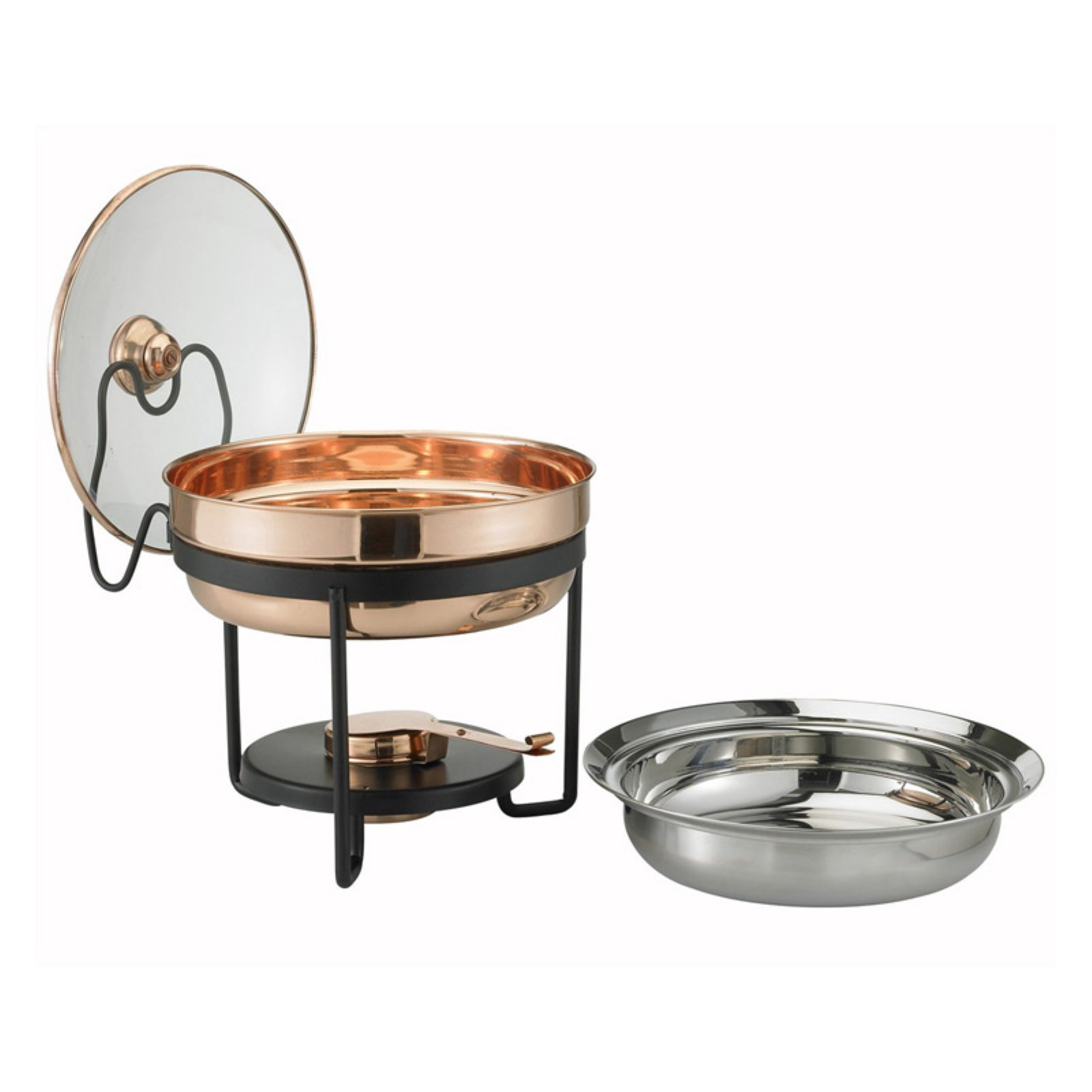 Old Dutch 970 Decor Copper Chafing Dish with Glass Lid