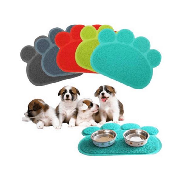 Meigar Dog Puppy Paw Shape Placemat Pet Cat Kitten Dish Bowl Feeding Food Water PVC Mat Wipe Clean