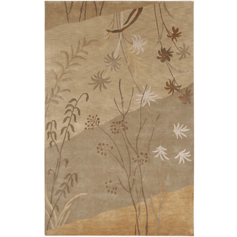2' x 3' Sienna Shore Khaki Tan, Umber and Bronze Wool Area Throw Rug