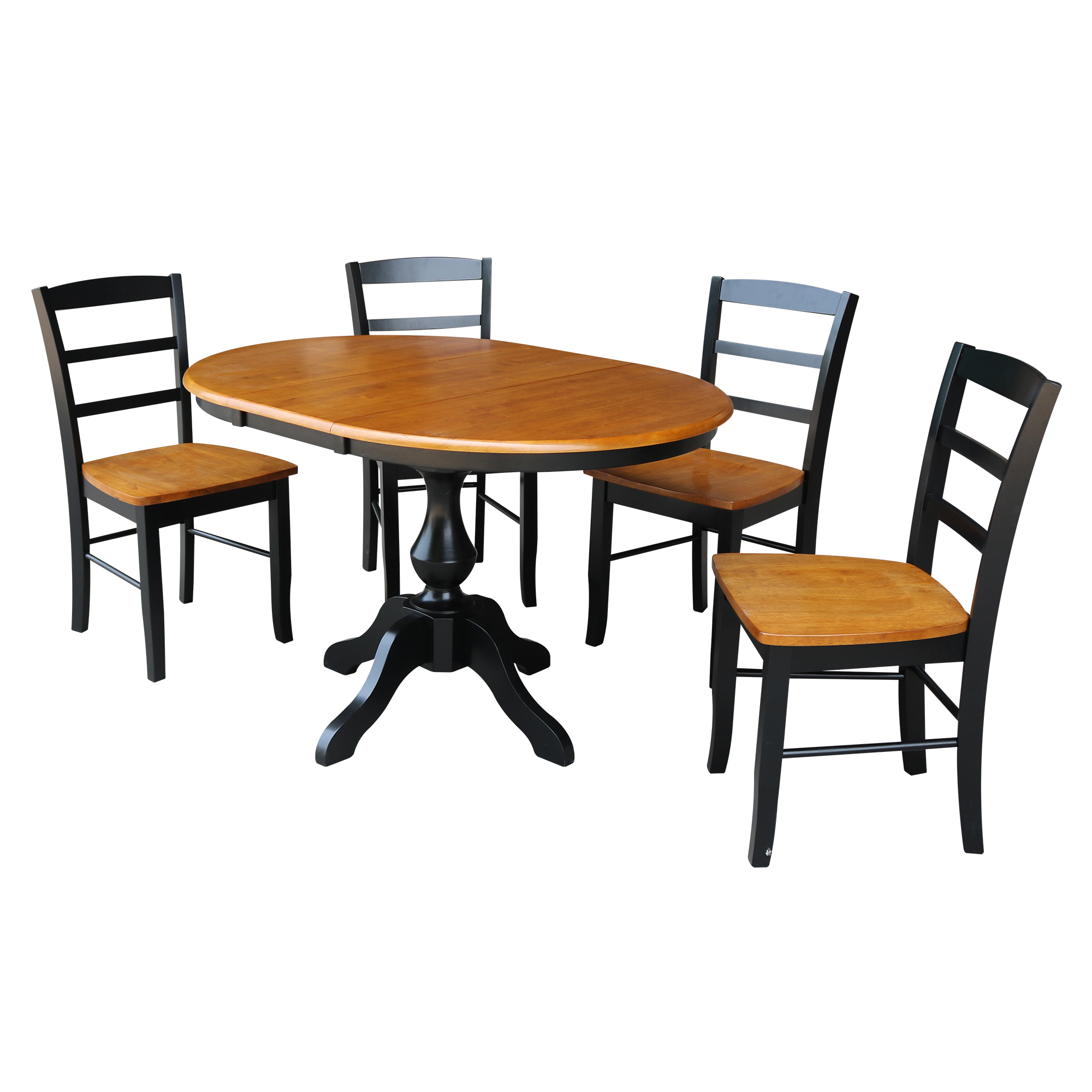 "36"" Round Dining Table with 12"" Leaf and 4 Madrid Chairs - Black/Cherry - 5 Piece Set"