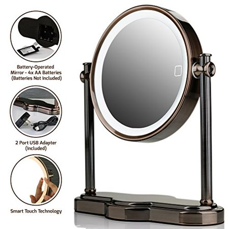 Ovente LED Lighted Makeup Mirror, SmartTouch 3-Tone Lighting (Daylight, Cool, Warm), Tabletop Vanity Mirror, Battery or USB Adapter Operated, 1x/5x Magnification, 8 inch, Antique Brass (Antique Nickel Entrance)