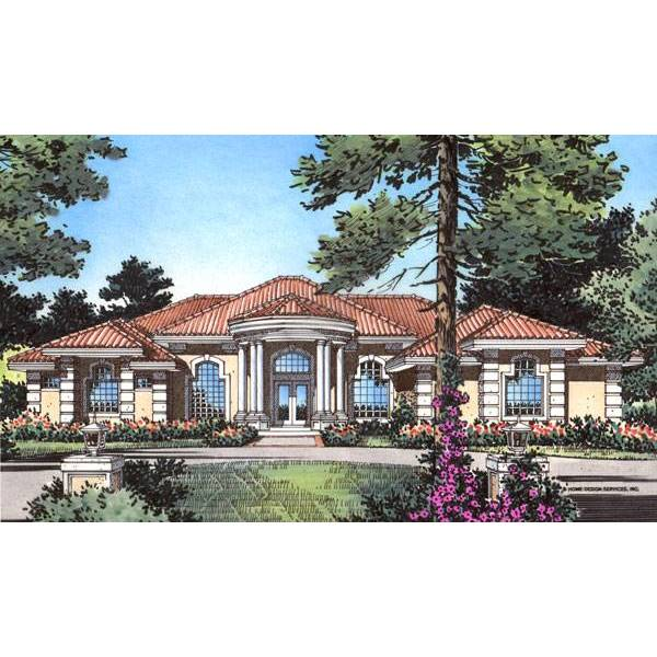 TheHouseDesigners-4136 Luxury Tuscan House Plan with Slab Foundation (5 Printed Sets)