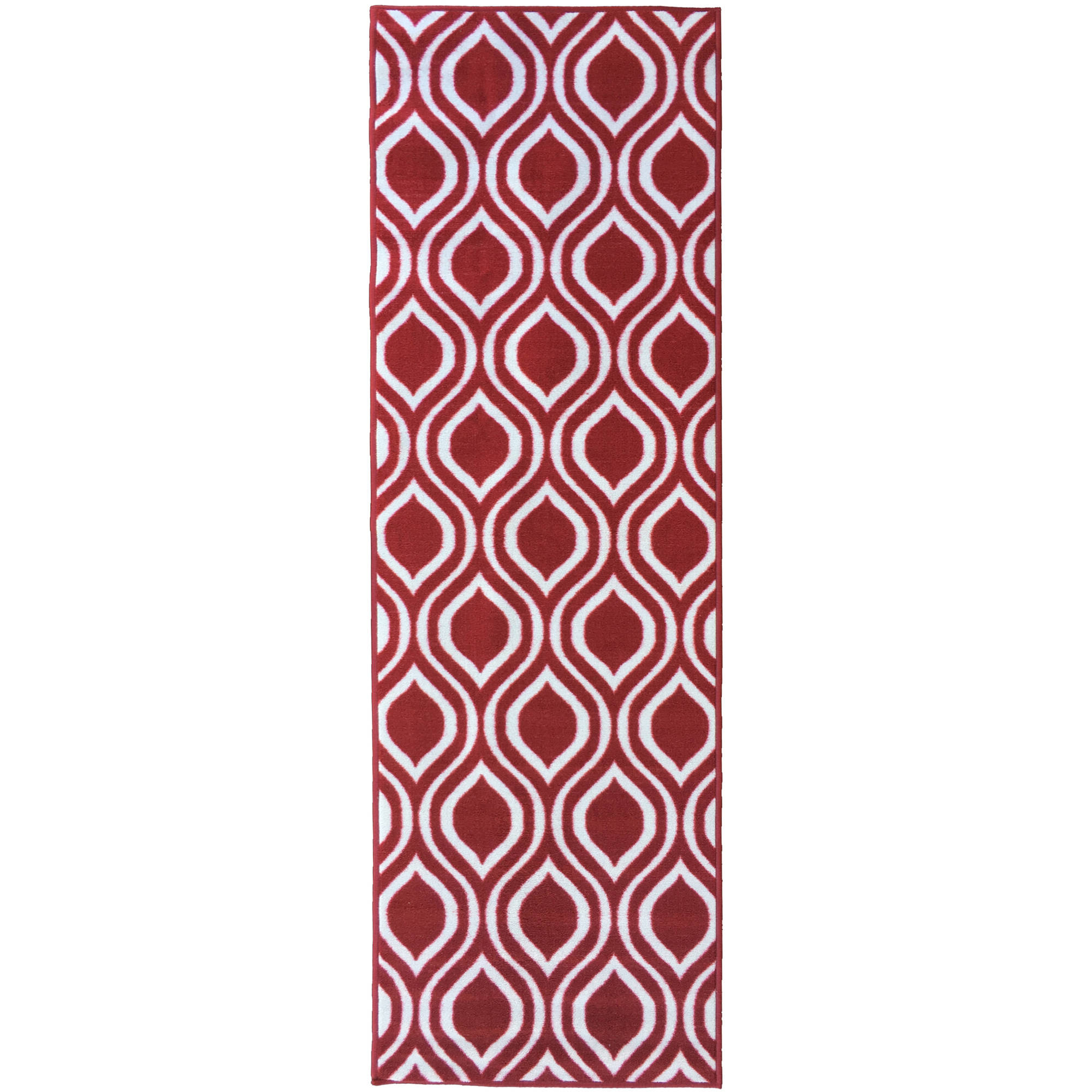 Berrnour Home Rose Collection Red Moroccan Trellis Design Runner Rug With  Non Skid (Non