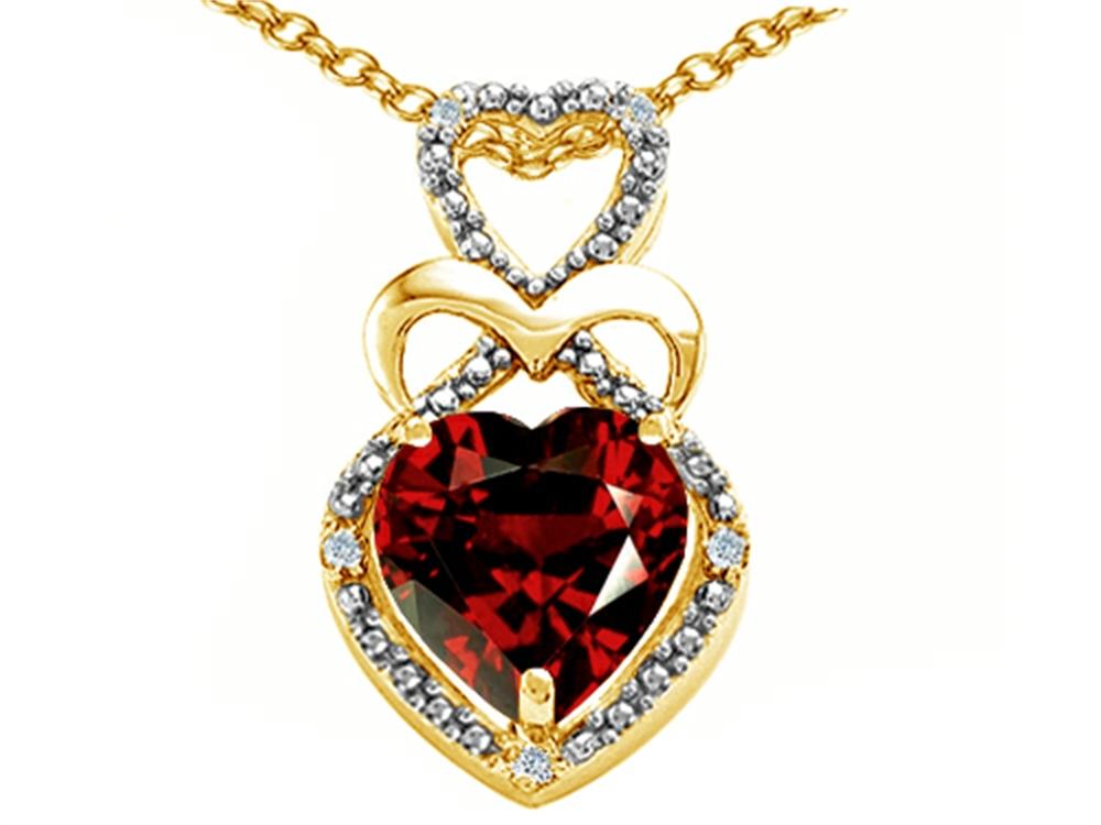Tommaso Design Heart Shape 8 mm Genuine Garnet Pendant Necklace by