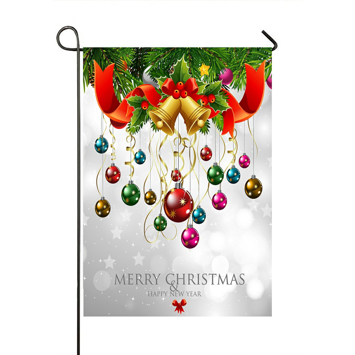 GCKG Xmas Merry Christmas Happy New Year Garden Flag Outdoor Flag ...
