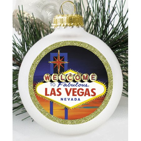 Welcome to Las Vegas Logo Glass Ball Christmas Ornament Made in USA White](Halloween Fantasy Ball Las Vegas)