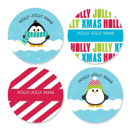 Holly Jolly Penguin - Assorted Holiday & Christmas Sticker Labels - 24 Count