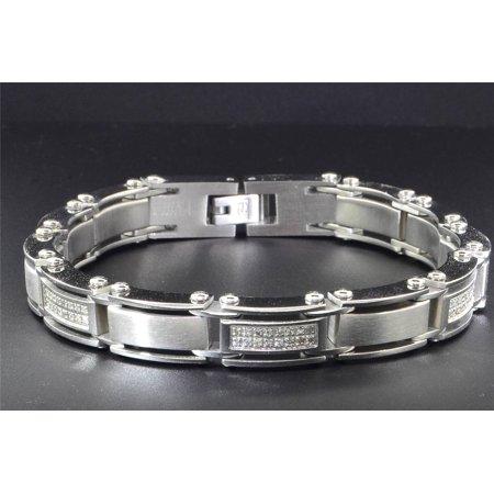 Mens Diamond Bracelet Stainless Steel High Polished 2 Row Fancy Links 8.5