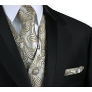 Italian Design, Men's Formal Tuxedo Vest, Tie & Hankie Set for Prom, Wedding, Cruise in Dark Champagne Paisley