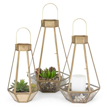 Best Choice Products Set of 3 Indoor Outdoor Decorative Metal Faceted Hurricane Candle Lanterns w/ Clear Glass, Mirrored Base - Brass ()