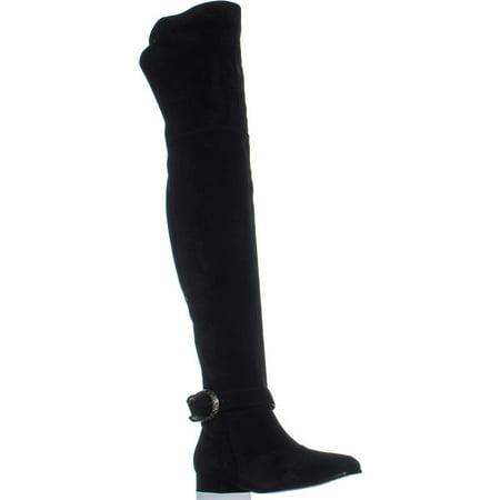 Womens Gucci 432083 Square Toe Over The Knee Boots, Nero/Nero, 9 US / 39 EU
