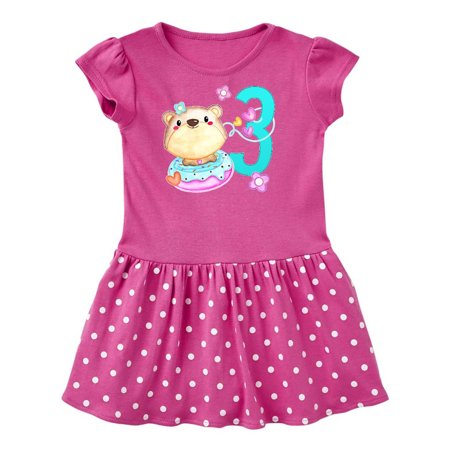 Third Birthday cute bear and donut Toddler Dress