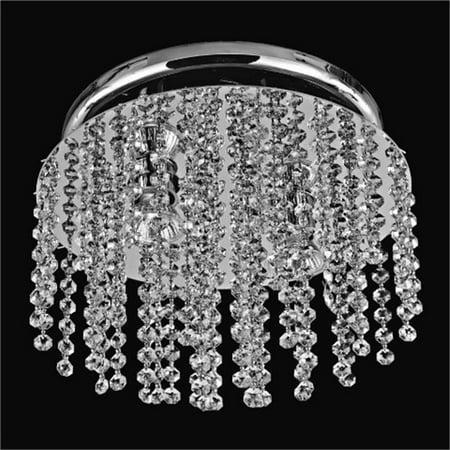 Blade Contemporary Flush Mount - Glow Lighting 566AC3LSP-7C Crystal Rain 12 in. Contemporary Crystal Flush Mount