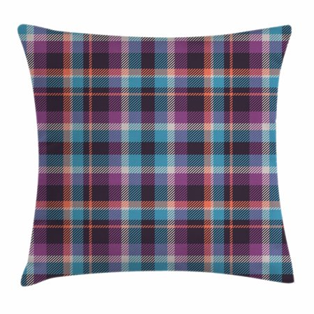 Checkered Throw Pillow Cushion Cover, Celtic Tartan Irish Culture Scotland Country Antique Tradition Tile, Decorative Square Accent Pillow Case, 18 X 18 Inches, Violet Pale Blue Salmon, by Ambesonne
