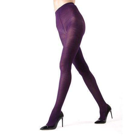 Web Tights (Memoi Pima Cotton Tights | Women's Hosiery - Pantyhose - Nylons Large/Xlarge / Blackberry Cordial MO)