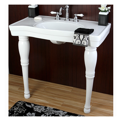 Kingston Brass Imperial Ceramic 37'' Console Bathroom Sink with Overflow