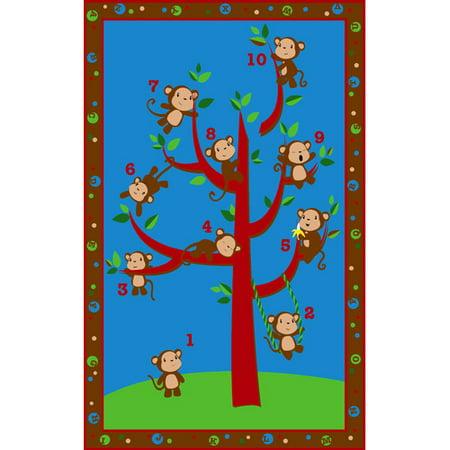 Kid Carpet Ten Little Monkeys Area (Monkey Kids Rug)