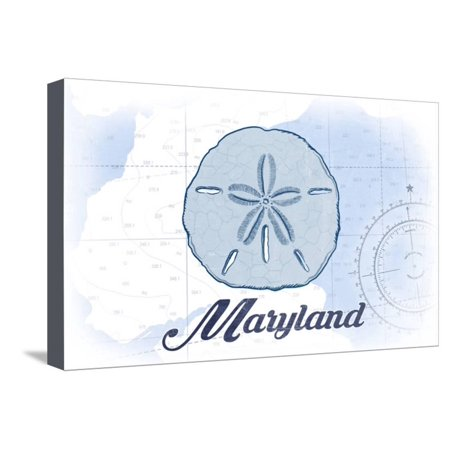 Maryland - Sand Dollar - Blue - Coastal Icon Stretched Canvas Print Wall Art By Lantern Press