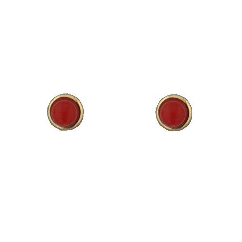 18k yellow gold coral paste stud bezel screwback earrings