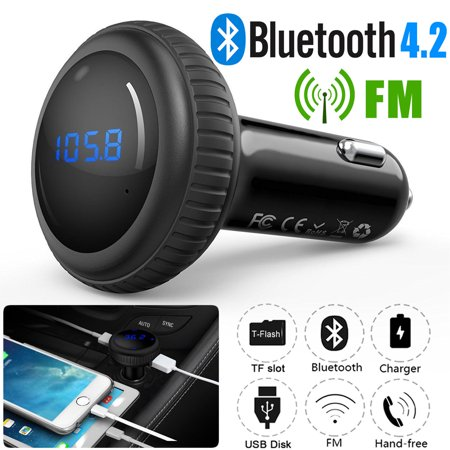 TSV Wireless Car Kit Bluetooth FM Transmitter with Smart Car Locator, Handsfree Call , Car MP3 Player with Dual USB Charger Radio Adapter-Black