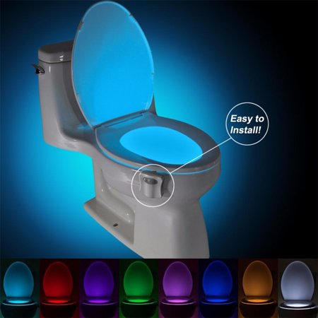 Motion Activated Toilet Night Light  Auto Motion Activated Sensor Colorful Led Nightlight  8 Color Changes  Only Activates In Darkness