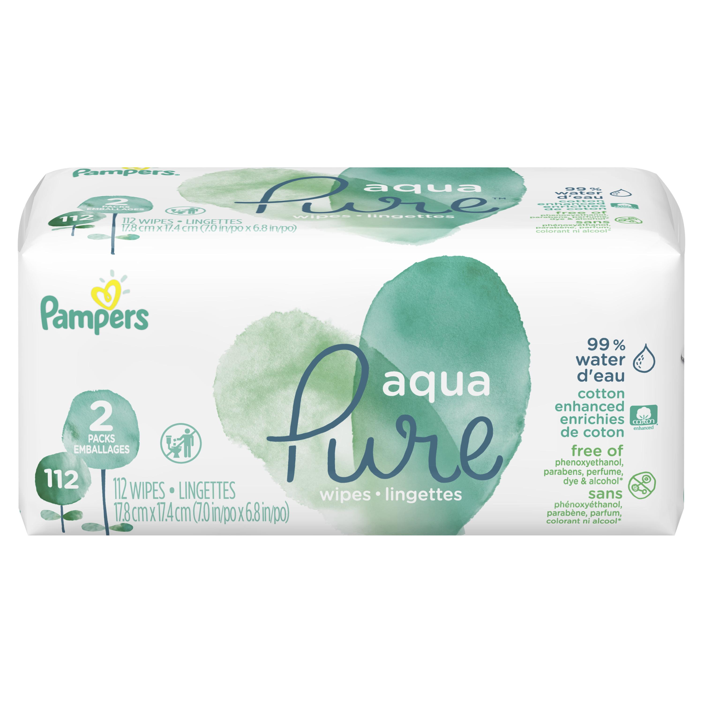 Pampers Aqua Pure Sensitive Baby Wipes 2X Pop-Top 112 Count