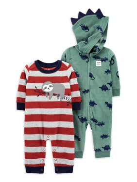 Child of Mine by Carter's Baby Boy One-Piece Fleece Hooded Jumpsuit, 2-Pack