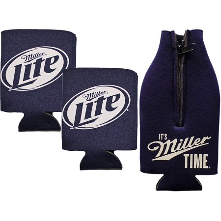 Giants Zipper Bottle Suit - Miller Lite Zipper Bottle Suit & Can Koozies (Miller Lite Dark Blue Zipper Bottle Suit & 2 Miller Lite Blue Can Koozies)