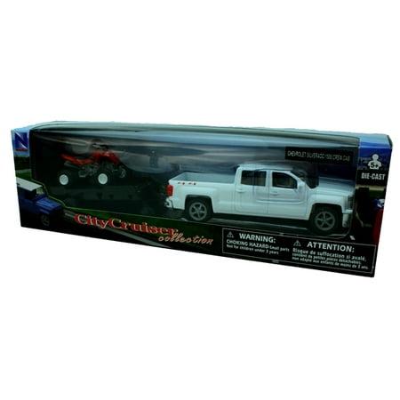 Chevrolet Silverado Die Cast Pick Up w/ ATV Trailer (1:43 Scale)