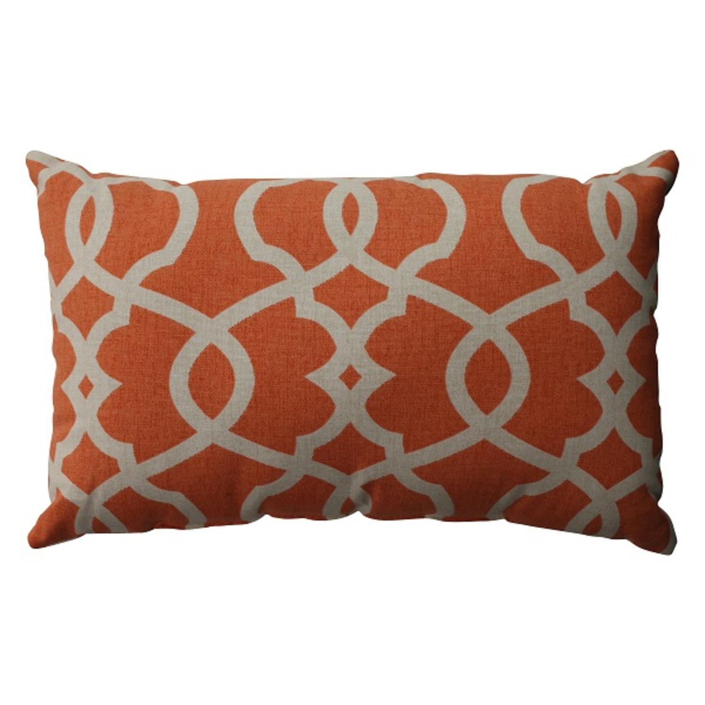 "18.5"" Citrus Orange Scrolling Rectangular Decorative Throw Pillow"