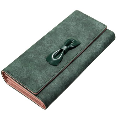 e331a2ddce75 Meigar - Fashion Women Lady Leather Wallet Purse Long Handbag Clutch Bag  Bowknot Card Holder Case,Dark Green color - Walmart.com