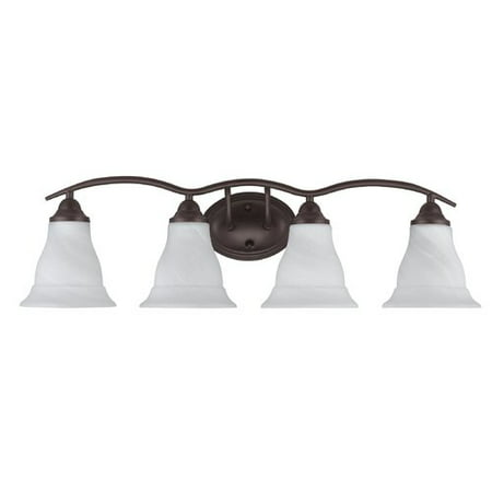 White Transitional Four Light (CHLOE Lighting ORELLA Transitional 4 Light Rubbed Bronze Bath Vanity Wall Fixture White Etched Glass 30