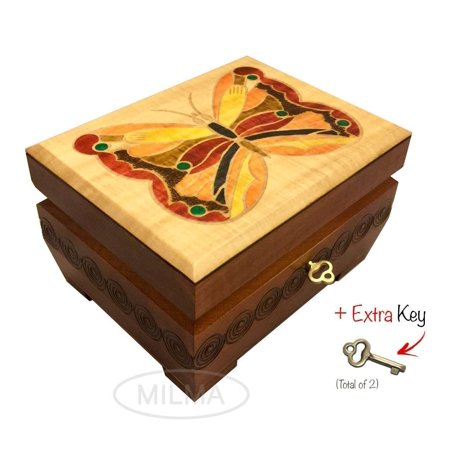 Butterfly Wooden Box Polish Handmade Linden Wood Keepsake Jewelry Box Decorative Box