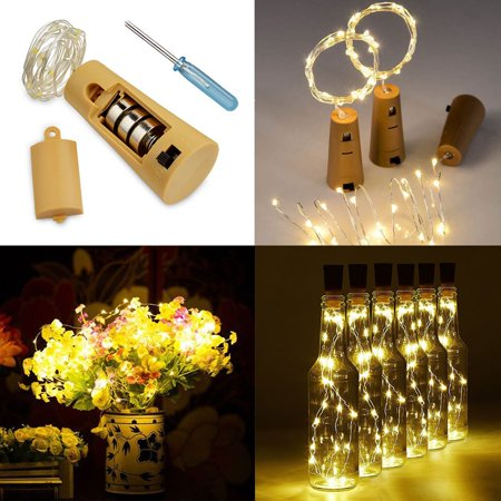 3-pack Wine Bottle Cork-Shaped Light, 3-pack 77inch/6.6Feet 20-LED White Warm lights for Bottle DIY, Wedding, Christmas, Halloween, Party Decoration or Mood Lights (52 Outdoor Diy Decor Ideas For Halloween)