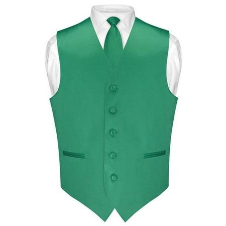 Men's Dress Vest & Skinny NeckTie Solid Emerald Green Color 2.5