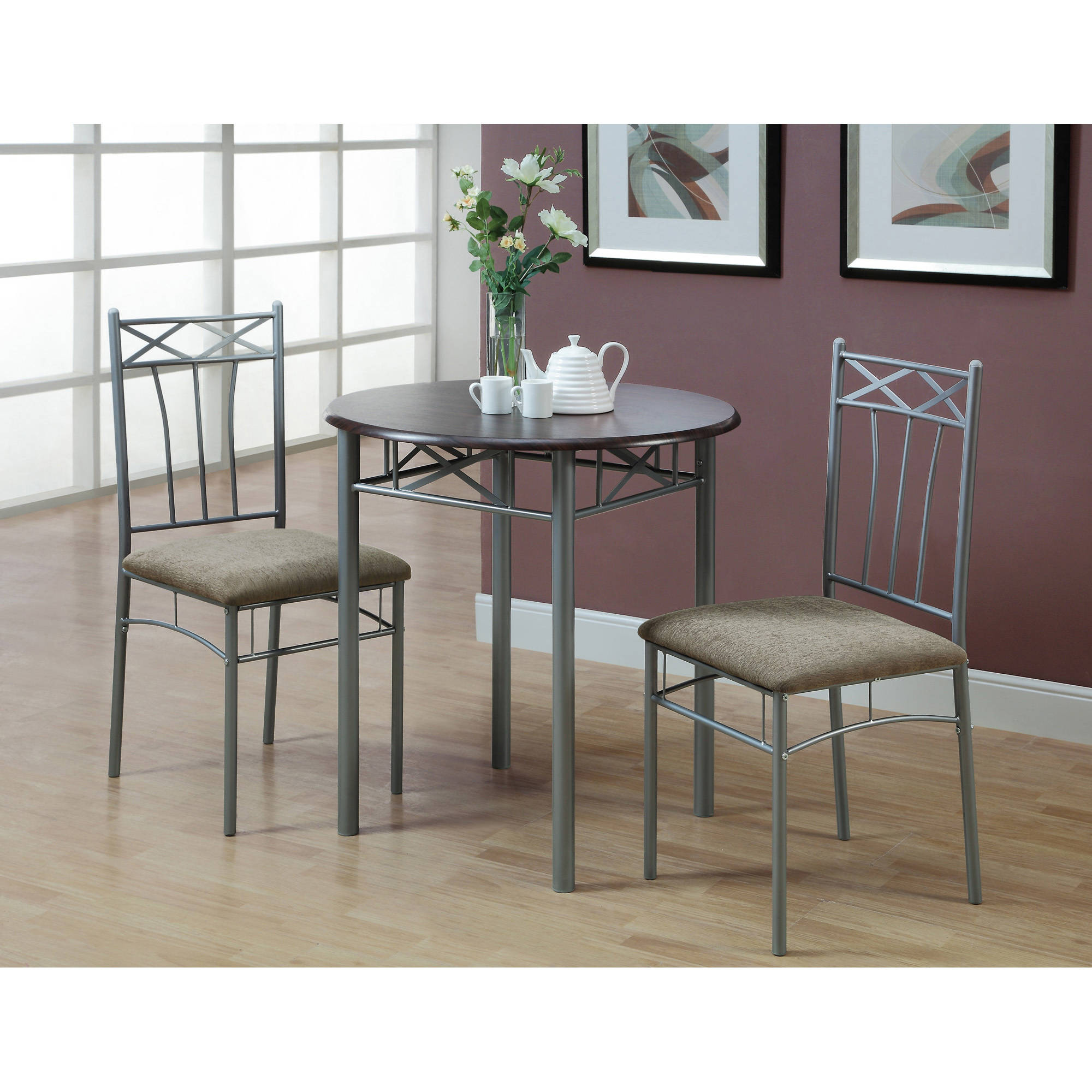 monarch dining set 3pcs set cappuccino silver metal walmart