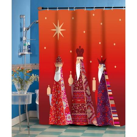 Carnation Home Fashions Three Kings North Star Christmas Fabric Shower Curtain