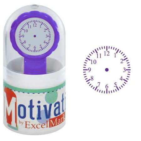 Clock Stamp - Motivations Pre-inked Teacher Stamp - Handless Clock - Purple Ink
